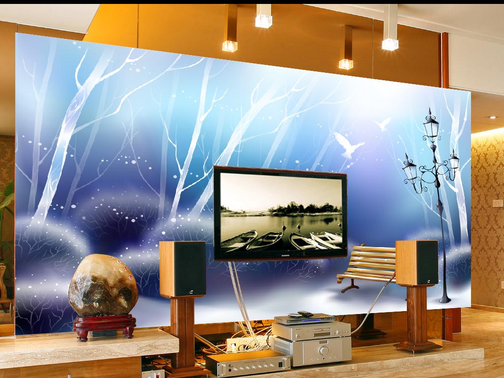 电视背景墙 手绘电视背景墙 > 梦幻唯美抽象树木夜晚路灯背景墙  版权