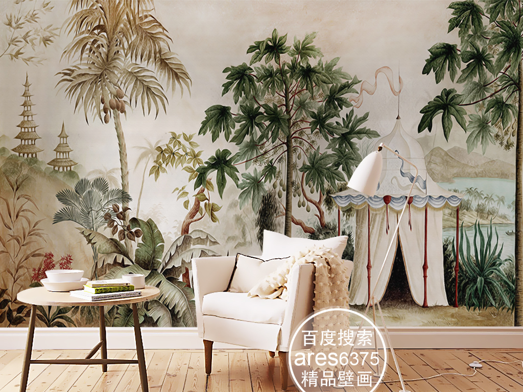 复古欧式手绘雨林帐篷田园芭蕉油画壁画