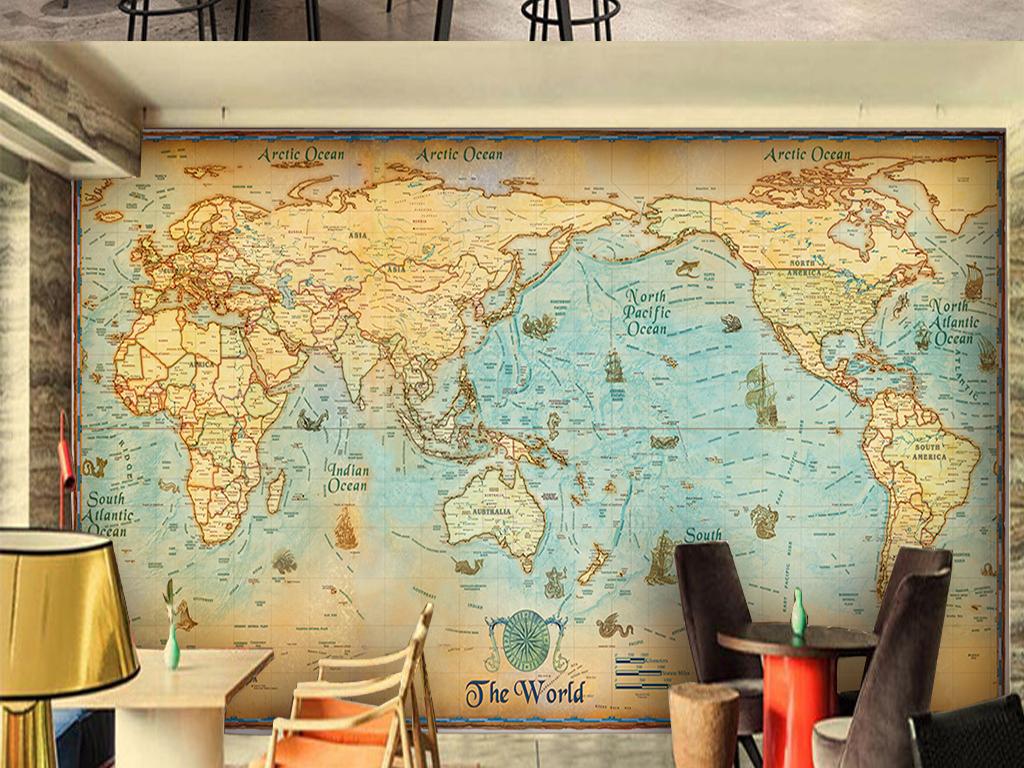 英文字母世界地图哥特风背景墙