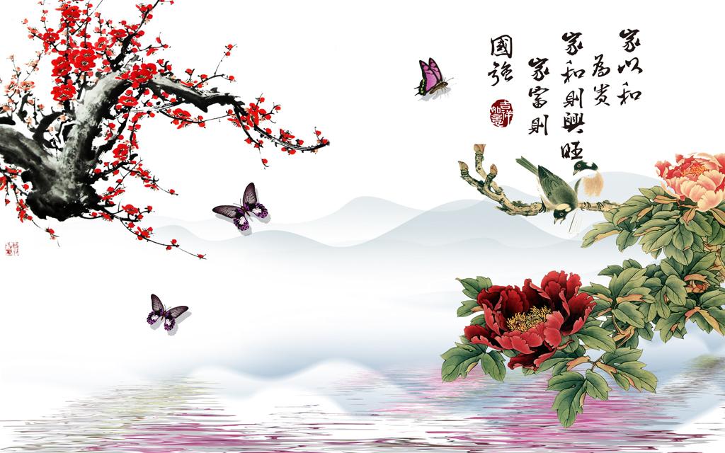 中式古典水墨山水画电视背景墙