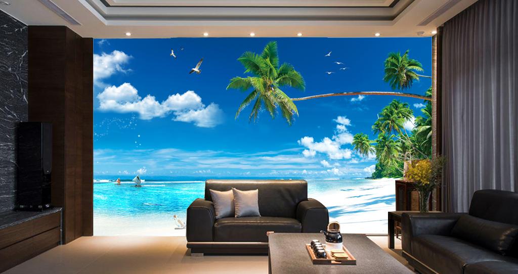 大海蓝天白云沙滩蓝色地中海欧式背景墙图片设计素材图片