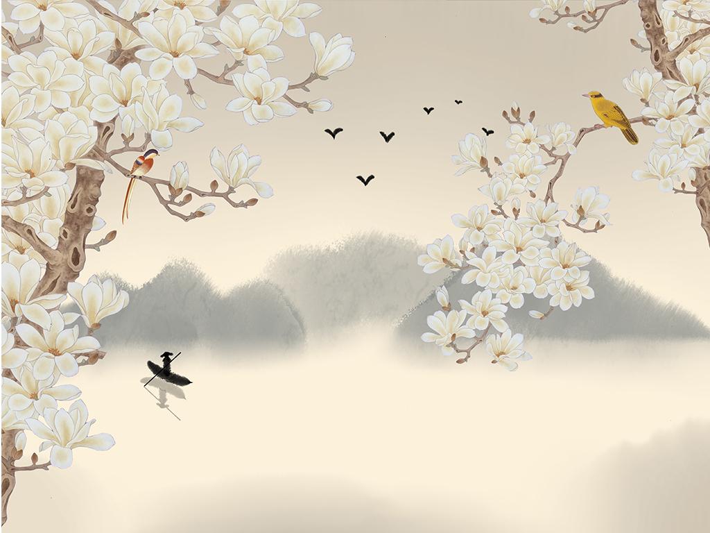 中式花鸟画贴图
