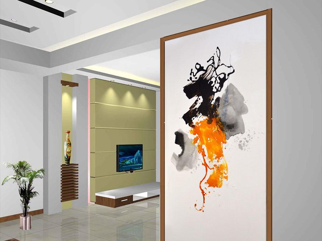 手绘高清立体抽象油画艺术玄关