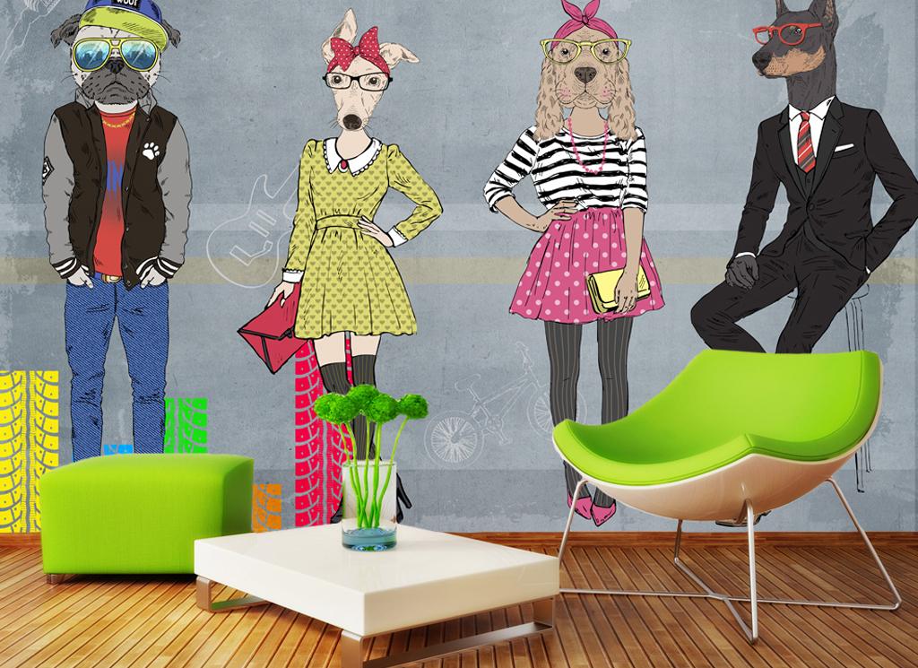 手绘抽象动物时装秀背景装饰墙