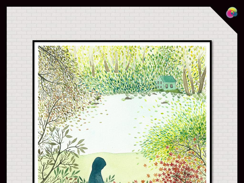 欧美风情乡村水彩画手绘北欧风情手绘插画儿童房卡通沙发背景风景森系