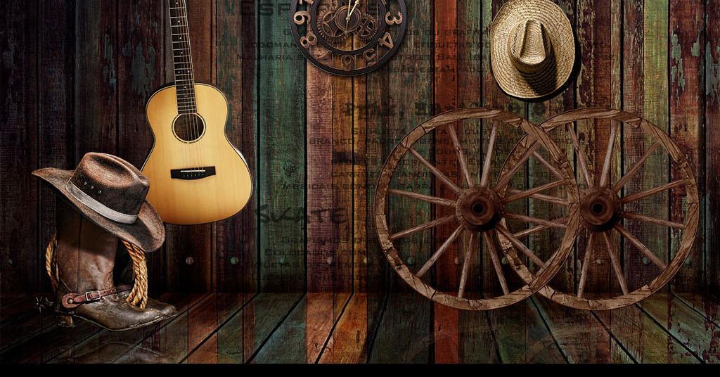 美式复古车轮牛仔音乐酒吧ktv背景墙图片