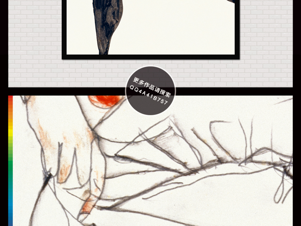 睡觉的裸女欧式现代简约酒店简笔画装饰画