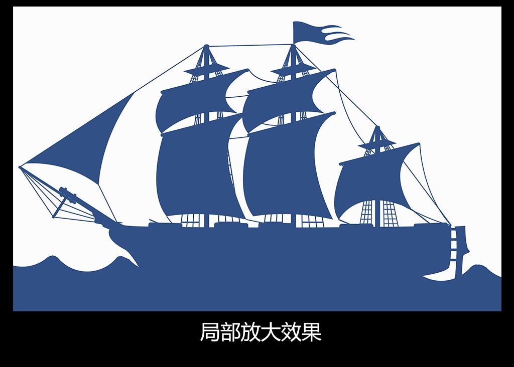 个性手绘鲸鱼大海帆船儿童房墙纸