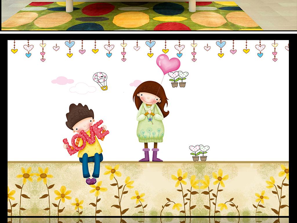 手绘卡通男孩女孩儿童房背景墙壁纸墙纸