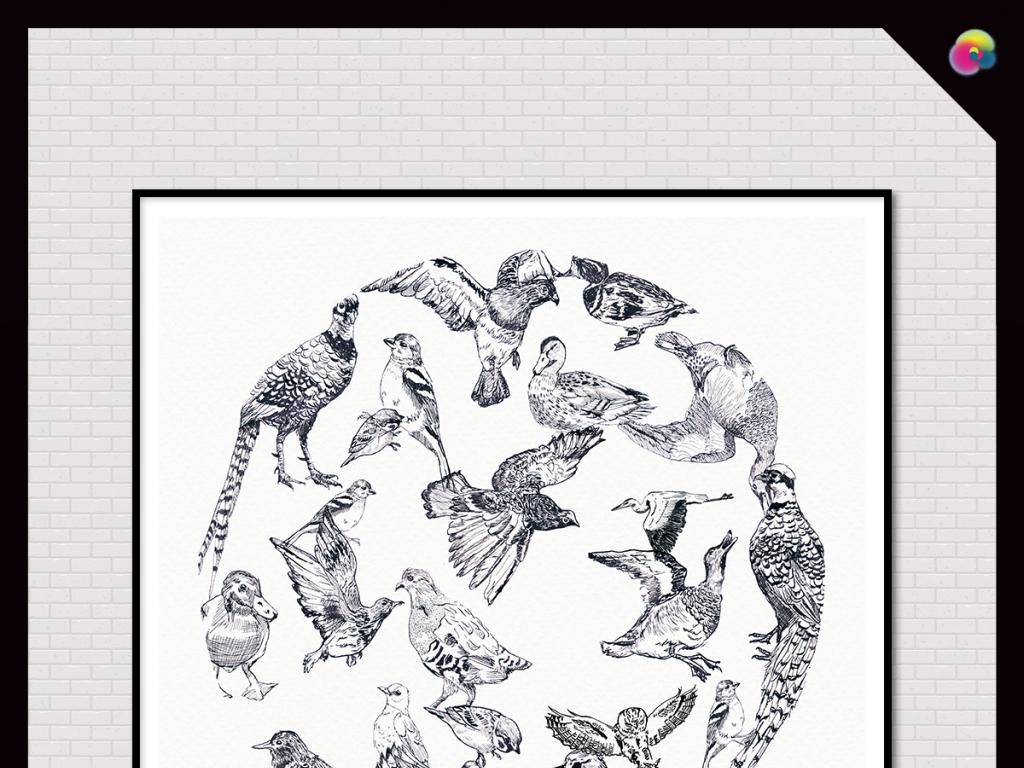 背景墙|装饰画 无框画 动物图案无框画 > 高清水彩画手绘花鸟高清壁画