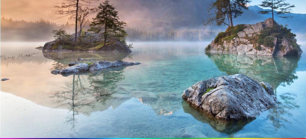 现代简约山水画湖泊意境壁画背景墙