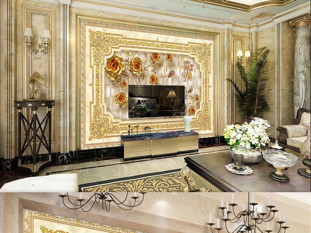 电视背景墙 大理石背景墙 > 欧式奢华大理石金玫瑰客厅电视墙壁画图片