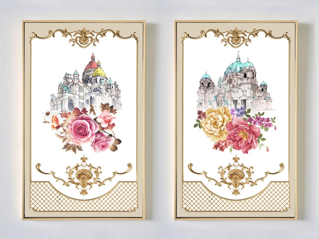 欧洲古城堡手绘花卉无框画