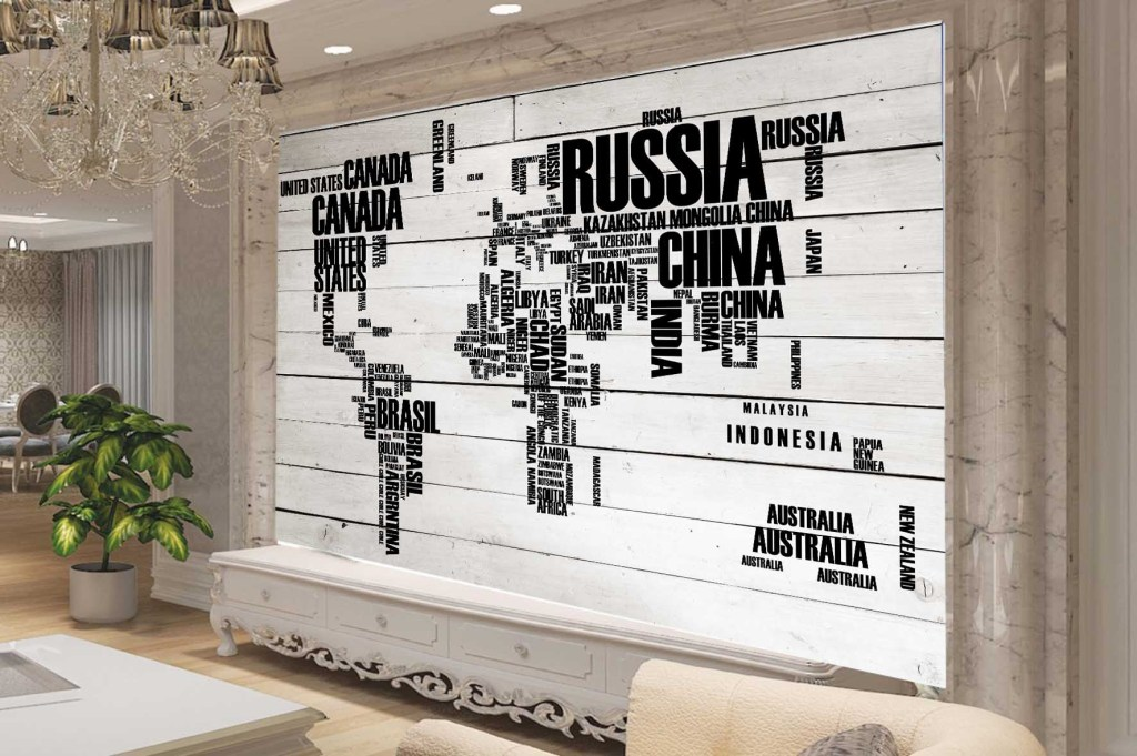 英文木板电视背景墙