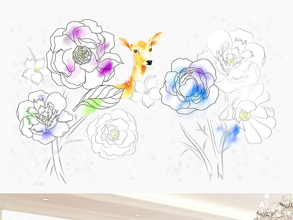 手绘铅笔画花朵鹿背景墙画