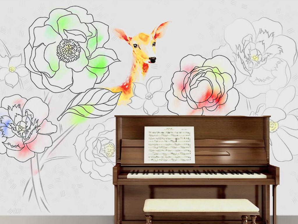 手绘玫瑰花麋鹿铅笔画背景墙墙纸图片设计素材 高清模板下载 19.49MB 手绘电视背景墙大全