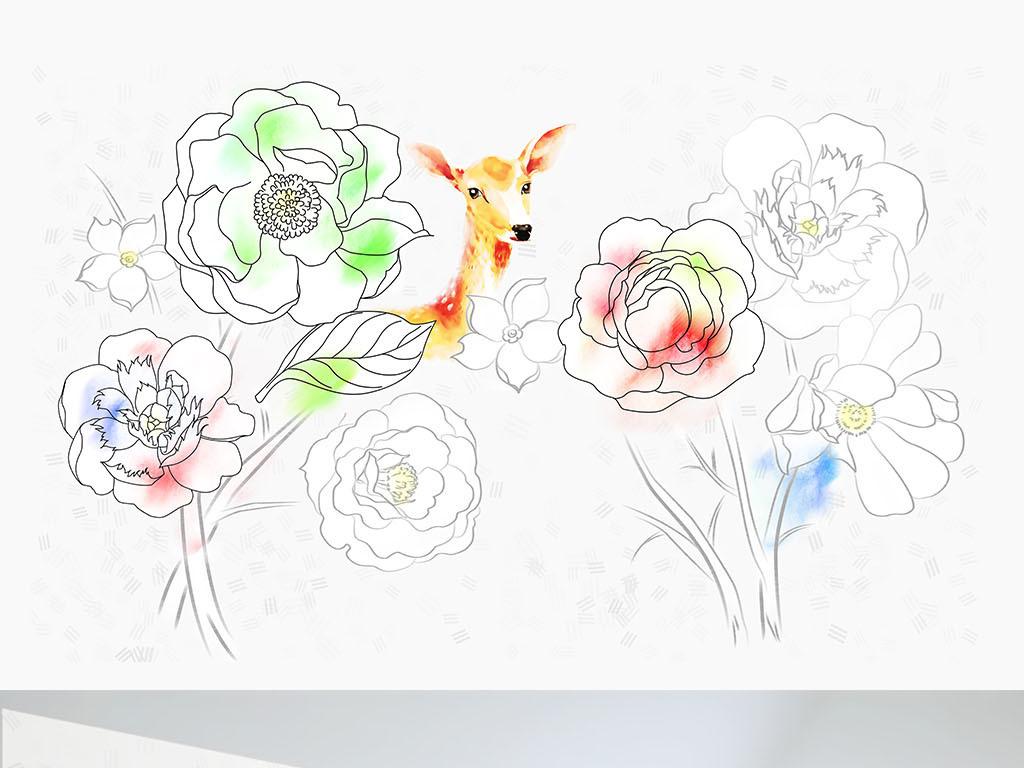 手绘玫瑰花麋鹿铅笔画背景墙墙纸