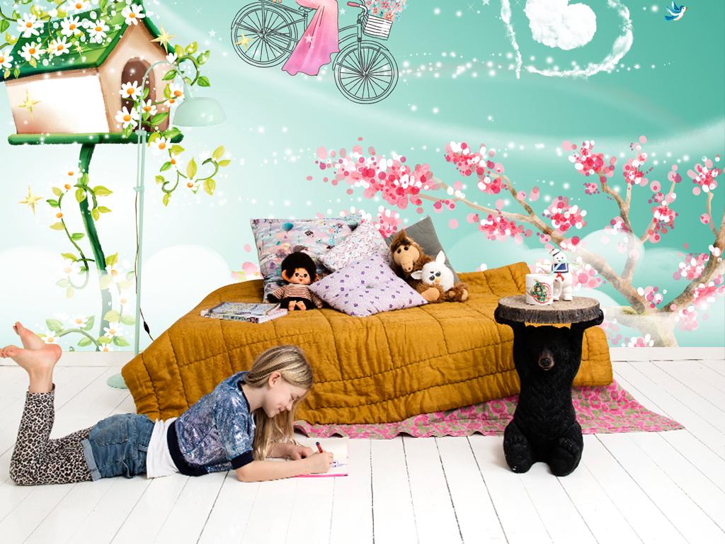 手绘爱心童话儿童房背景墙