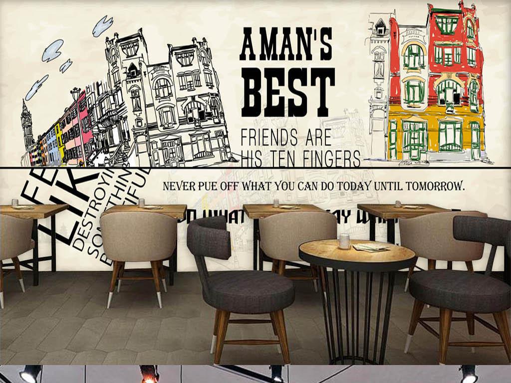 咖啡店酒吧西餐厅手绘建筑城市线条时尚英文水彩插画房子楼房电视背景