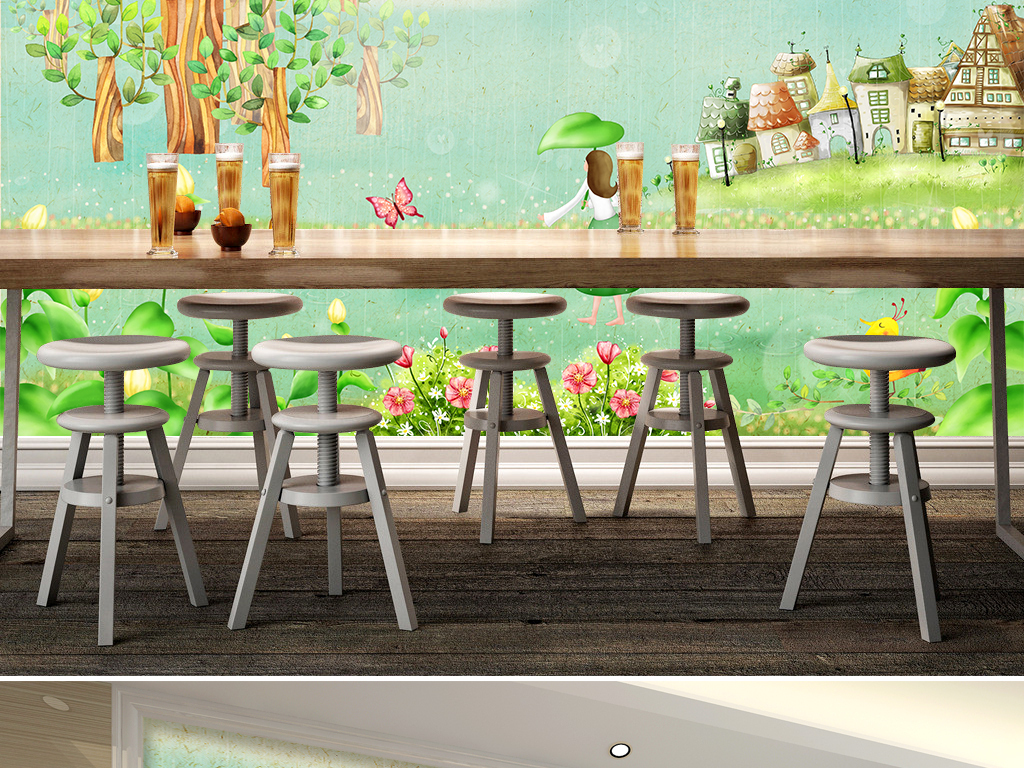 唯美韩式春天雨季儿童房背景墙壁纸壁画图片