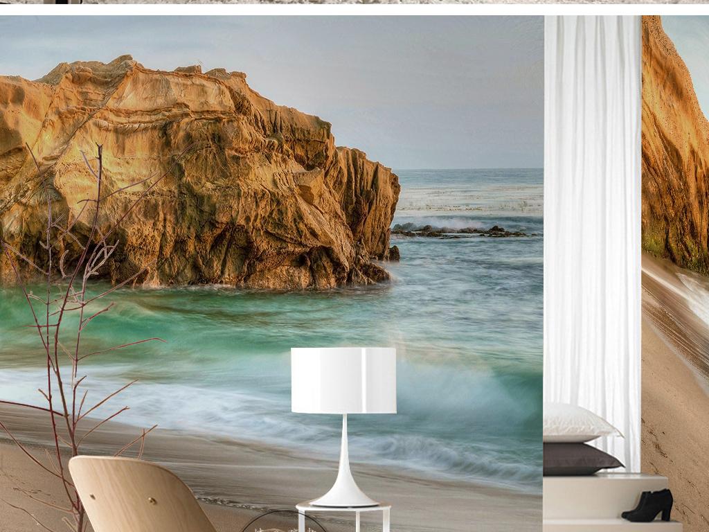 海浪沙滩岛屿唯美风景旅游胜地自然风光背景