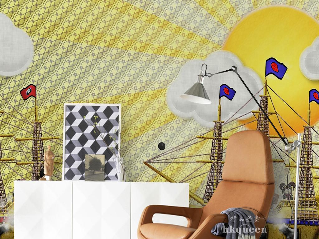 金色高端大气手绘海洋轮船卡通儿童房背景墙
