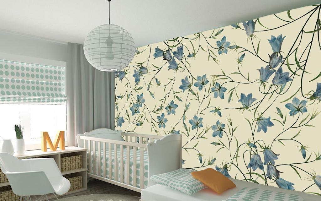 欧式手绘花卉藤蔓墙纸电视背景墙