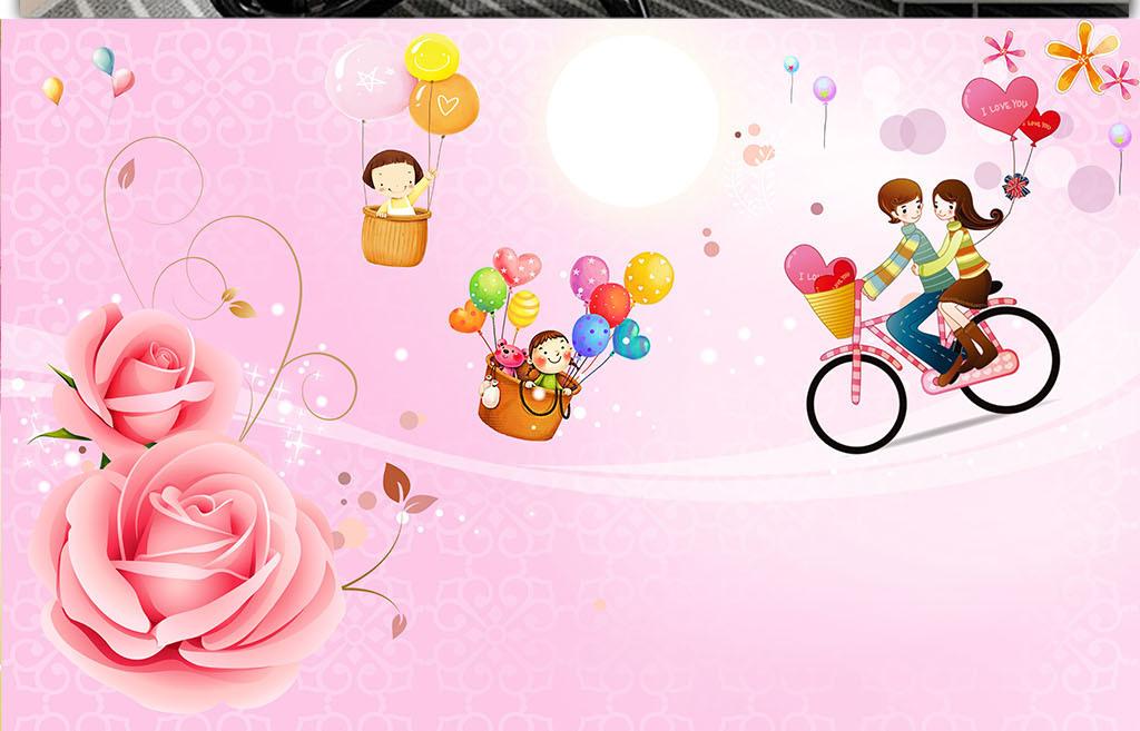 唯美玫瑰花单车恋人儿童房背景墙