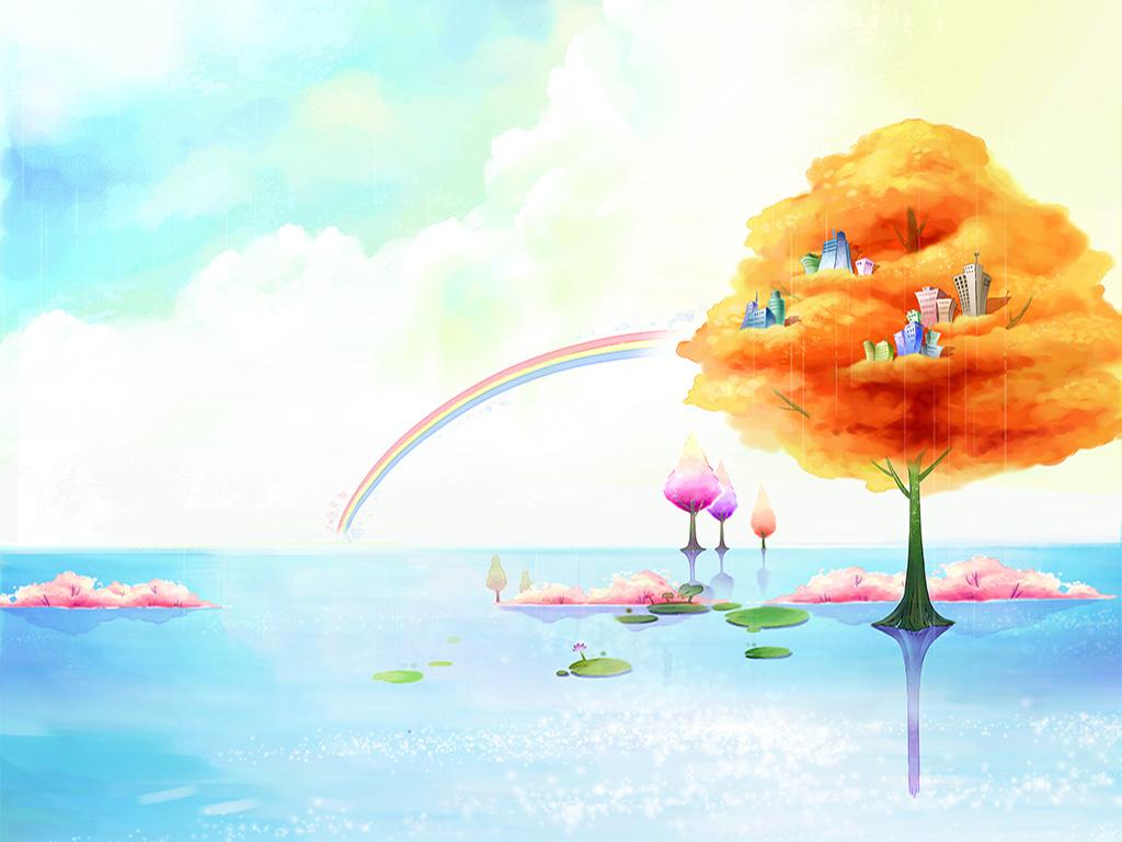 手绘创意大树高楼大厦儿童房间装饰画