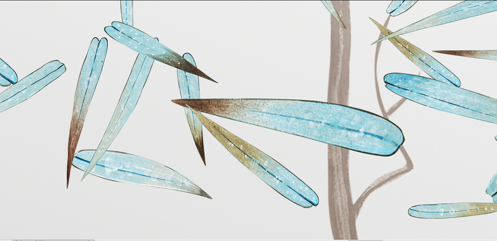 psd)手绘竹子图