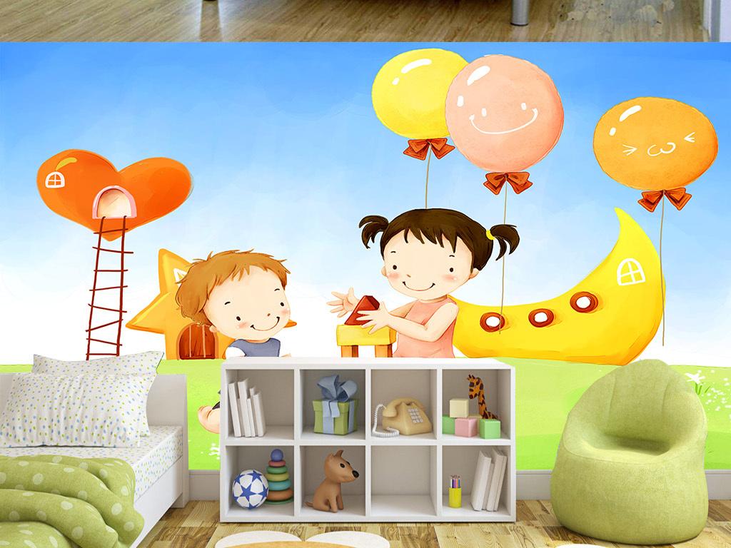 手绘卡通可爱姐弟两儿童房间背景墙