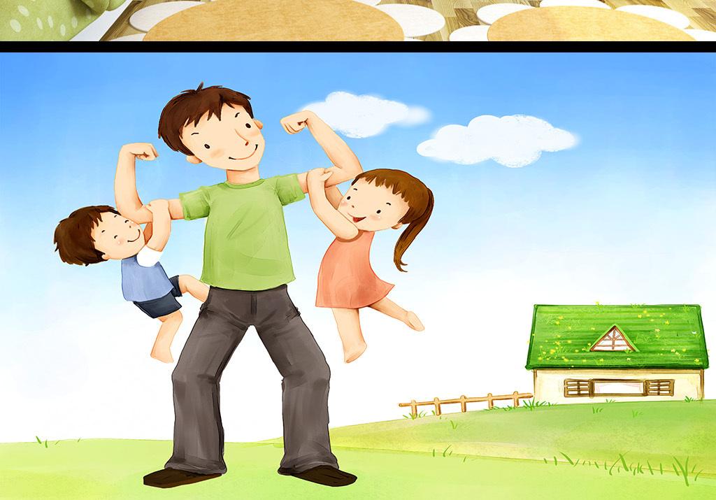 手绘卡通可爱孩子与父亲儿童房间背景墙