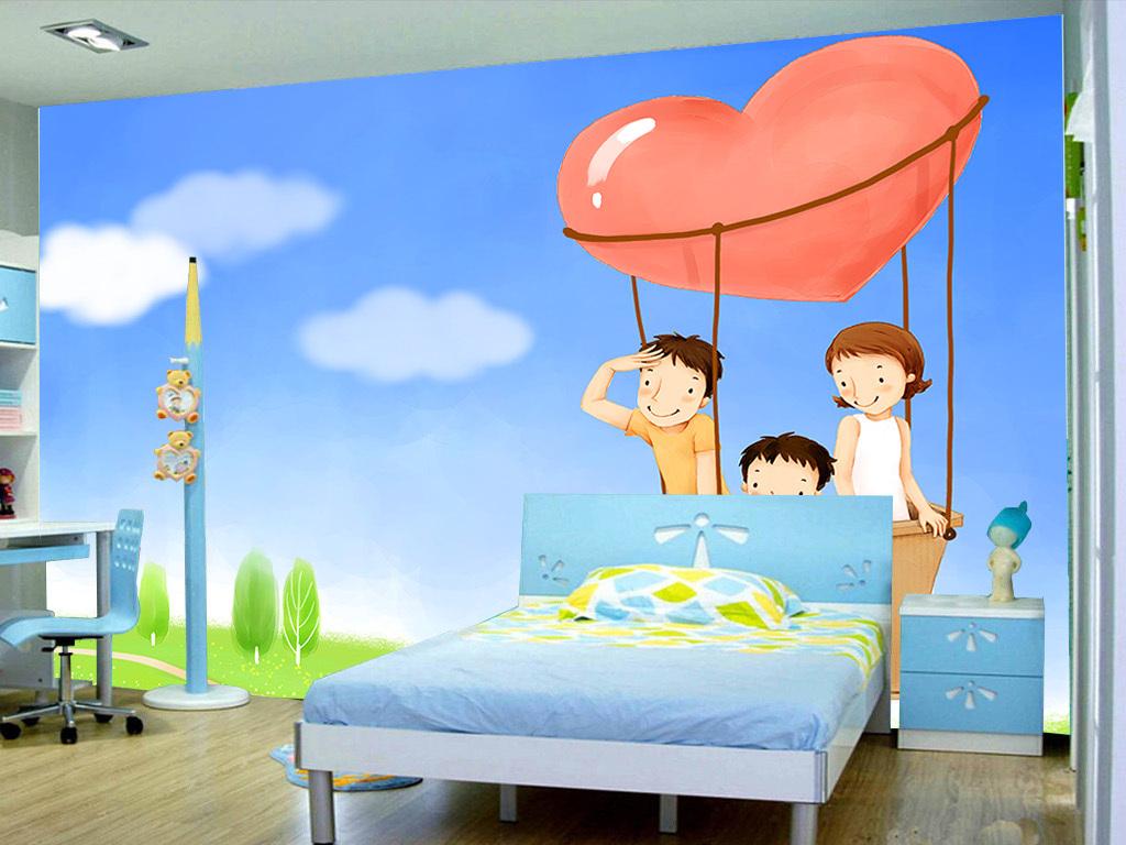手绘温馨的一家人儿童房间背景墙