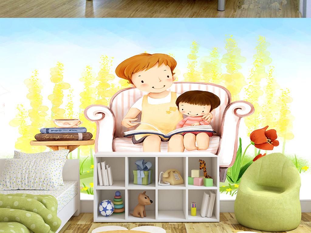 手绘温馨母亲与女孩儿童房间背景墙