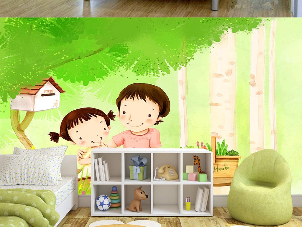 流行手绘卡通温馨母亲与女孩儿童房间背景墙素材下载