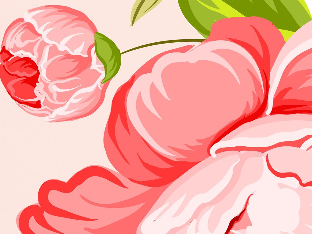 设计作品简介: 高清手绘欧式牡丹花背景墙 位图, rgb格式高清大图