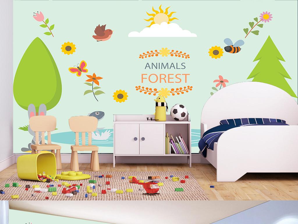 清新唯美手绘卡通森林动物儿童房背景墙