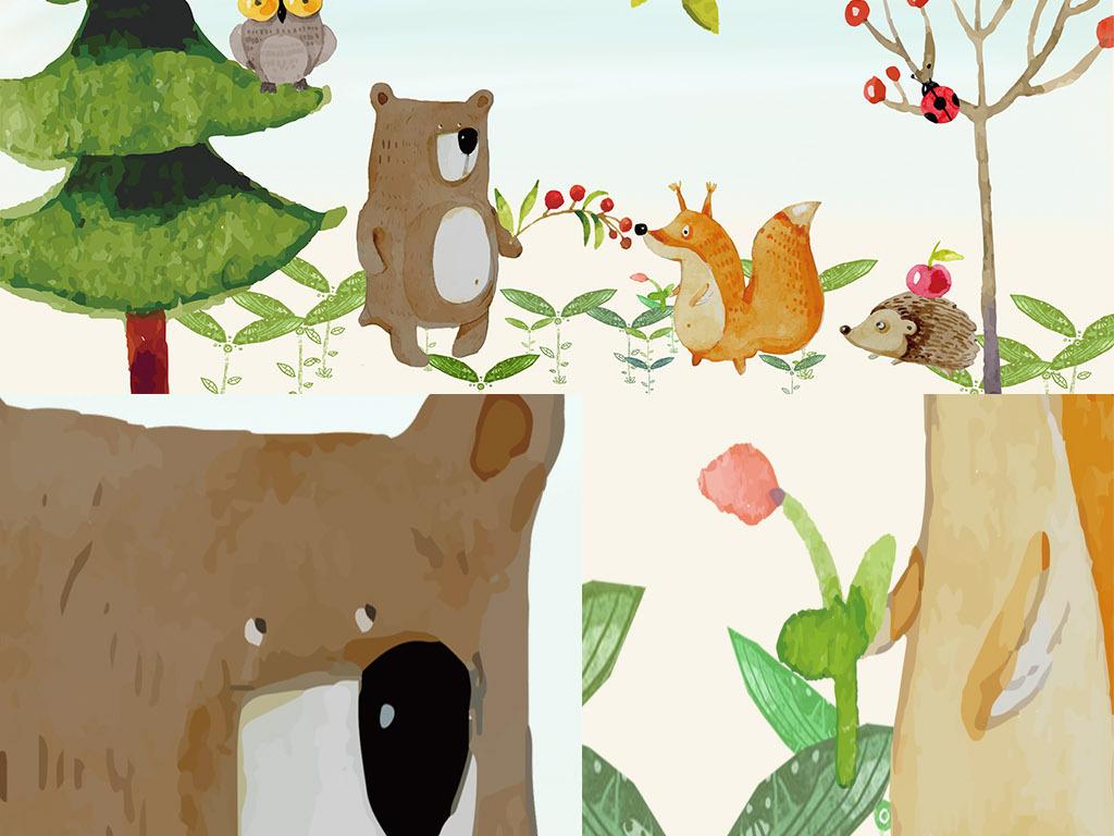 清新唯美手绘卡通动物朋友儿童房背景墙