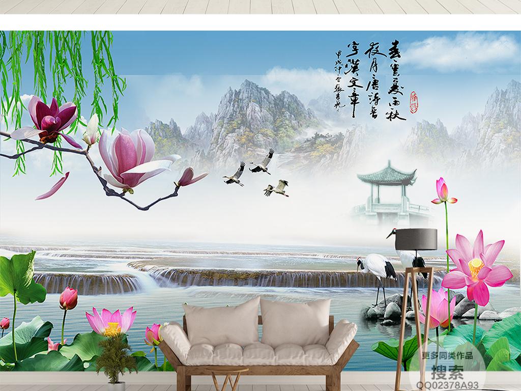 山水情江南风景背景墙