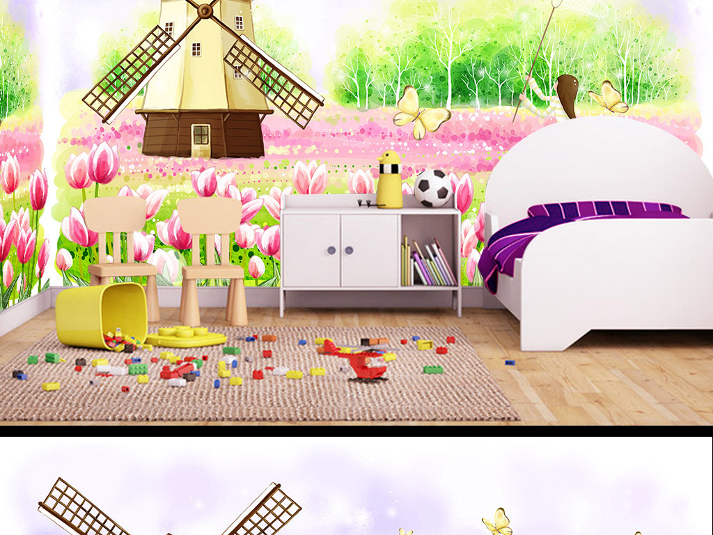 手绘卡通捕蝴蝶的女孩儿童房背景墙