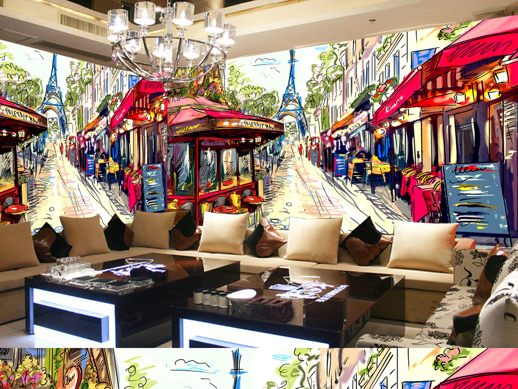 涂鸦潮流壁纸背景墙巴黎巴黎街景铁塔埃菲尔铁塔法国电视背景墙图片