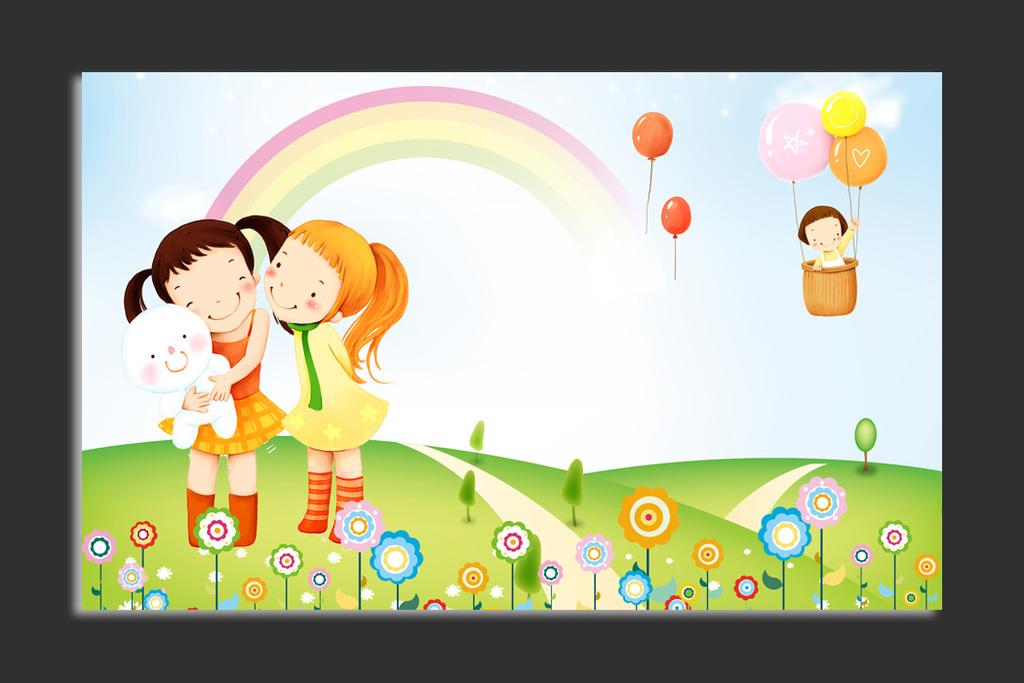 背景墙|装饰画 电视背景墙 儿童房背景墙 > 快乐童年可爱朋友卡通客厅