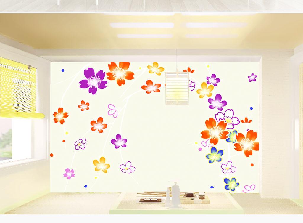 日式樱花手绘电视壁画墙纸一