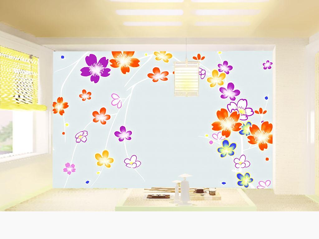 日式手绘樱花电视壁画墙纸二