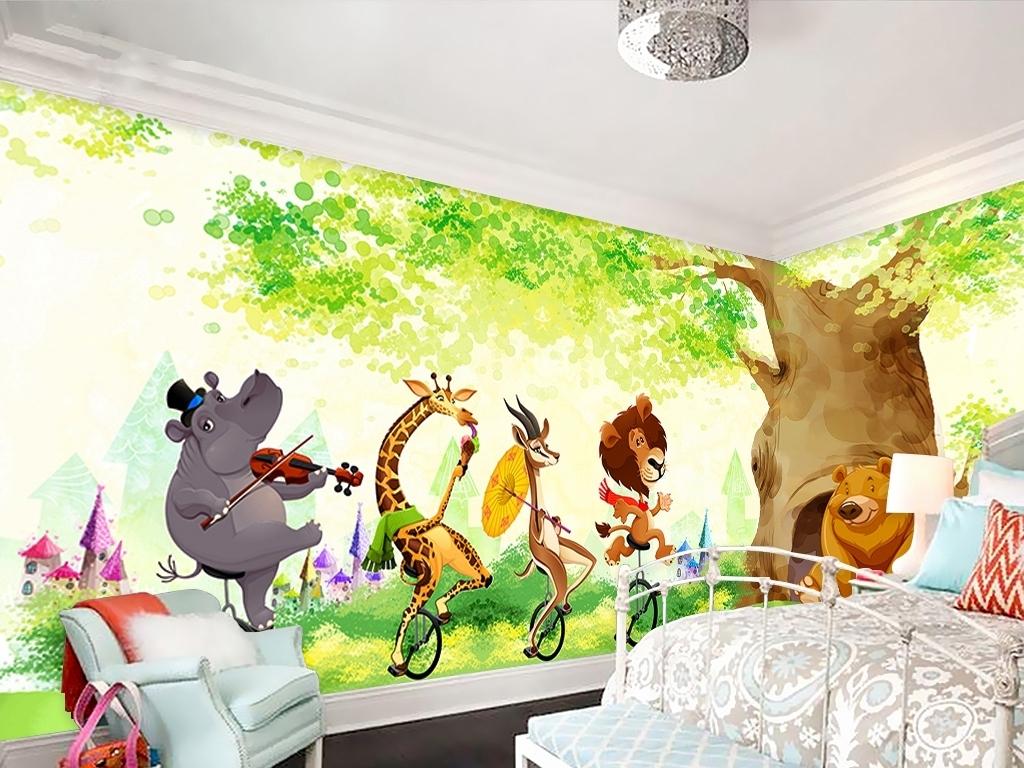 森林动物园儿童房背景墙