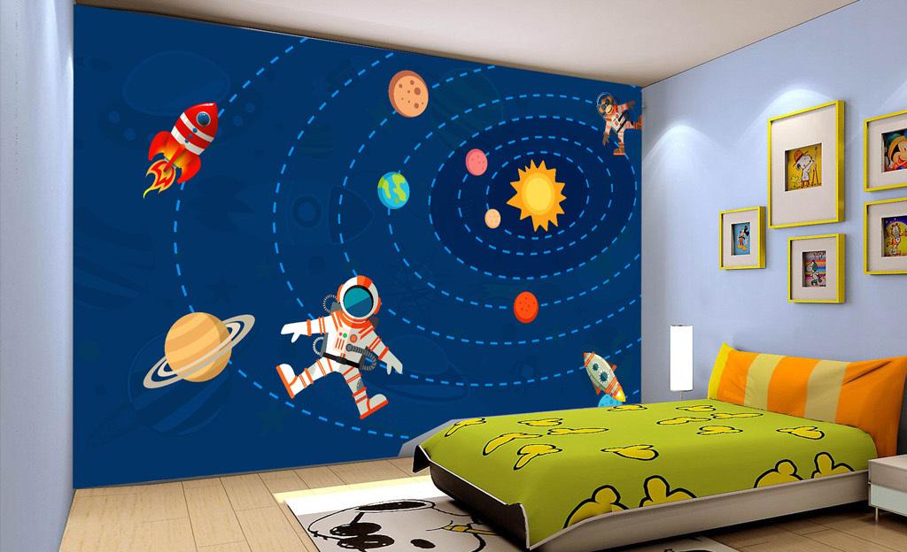 手绘卡通太阳系星空儿童房背景墙