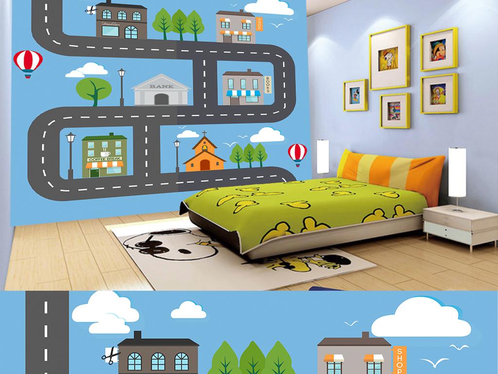 手绘清新卡通城市街道儿童房背景墙图片