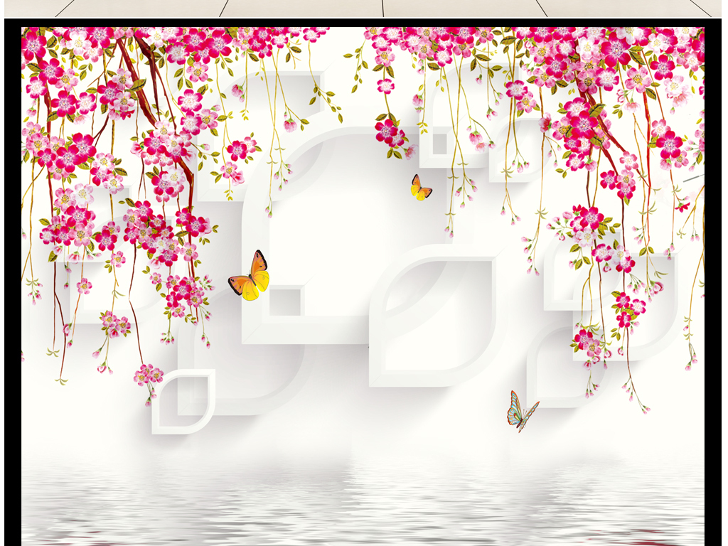 背景墙|装饰画 电视背景墙 电视背景墙 > 紫藤3d水纹现代背景墙  版权