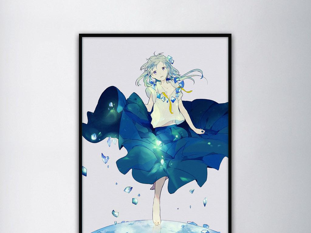 日本治愈系莲花仙子手绘清新家居现代装饰画