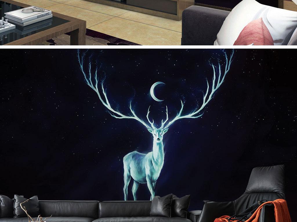 手绘白色星空鹿